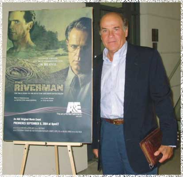 A photo of Bill at the opening of the movie Riverman, made from Riverman, the book, co-authored with Robert Keppel.